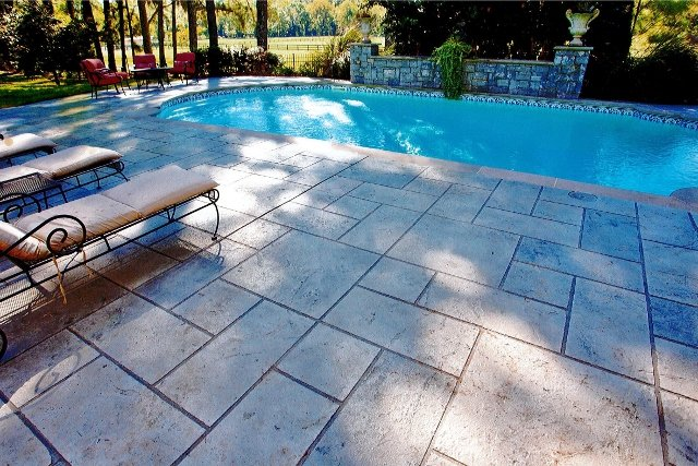pool deck with faux stone